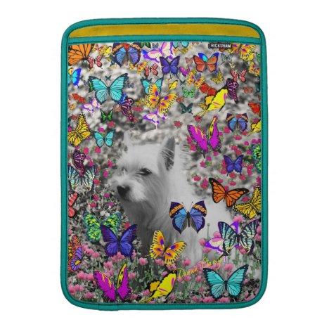 Violet in Butterflies – White Westie Dog MacBook Sleeve