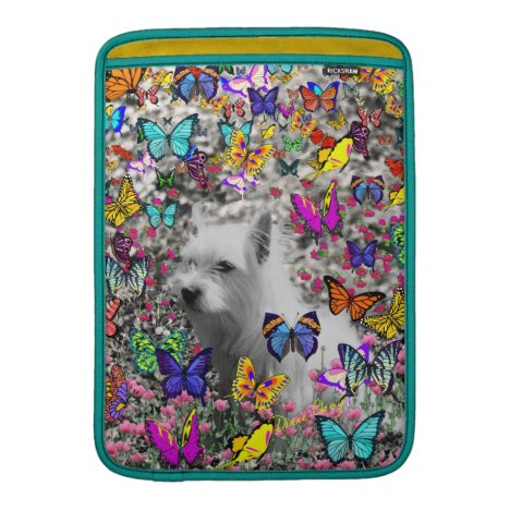 Violet in Butterflies – White Westie Dog MacBook Sleeve