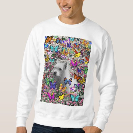 Violet in Butterflies – White Westie Dog Sweatshirt