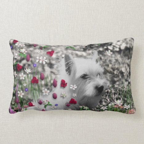Violet in Flowers – White Westie Dog Lumbar Pillow