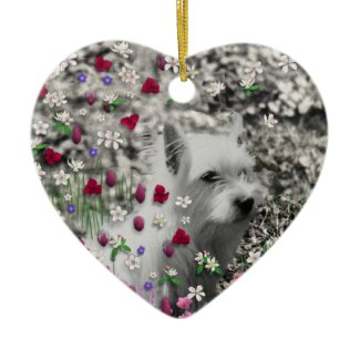 Violet in Flowers – White Westie in Blossoms ornament