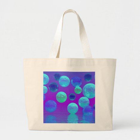 Violet Mist - Cyan and Purple Abstract Light Large Tote Bag
