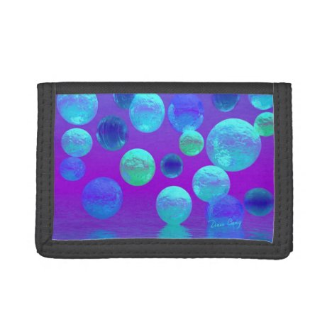 Violet Mist, Cyan and Purple Abstract Light Tri-fold Wallet