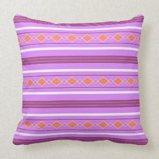 Violet orange artistic stripes throw pillow