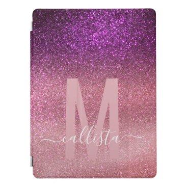 Violet Purple Pink Triple Glitter Ombre Monogram iPad Pro Cover