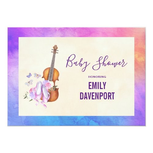Violin, Ballet Shoes and Butterflies Baby Shower Invitation