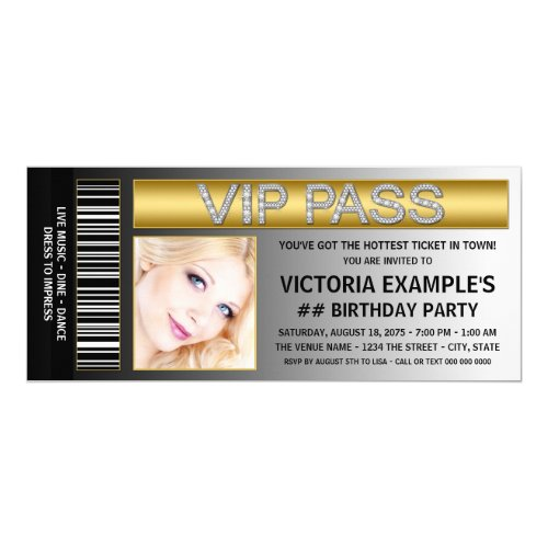 VIP Pass Ticket Style Birthday Party Card