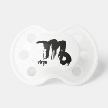 Virgo Black Zodiac Sign Pacifiers