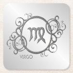 Virgo Zodiac Design Silver Square Paper Coaster
