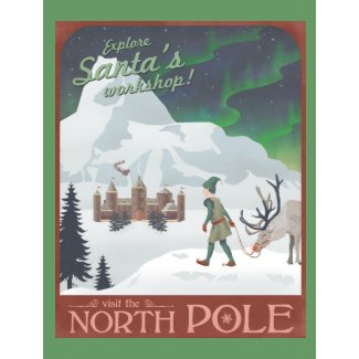 Visit Santa's workshop at the North Pole postcard