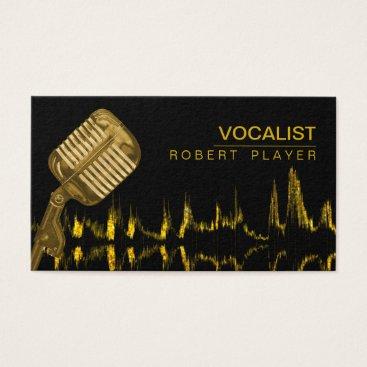 Vocalist Singer DJ Music Teacher Microphone Gold Business Card