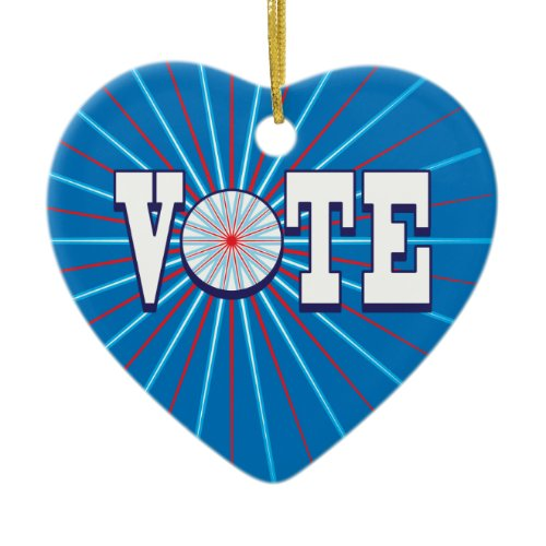 VOTE (blue - red) Heart Ornament ornament