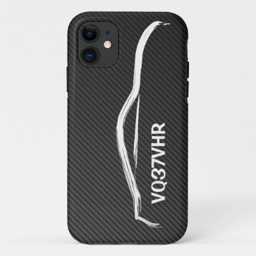 """""""VQ37VHR"""" 370z w/ Faux Carbon Fiber iPhone 11 Case"""