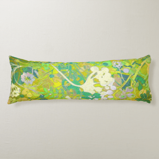 Wacky Retro Floral 2 Body Pillow