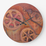 Wall Clock with Gears and Rustic Steam Punk