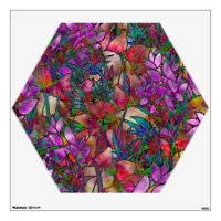 Wall Decal Floral Abstract Stained Glass