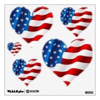 Wall Decals Patriotic Flag/Simple Hearts | Zazzle