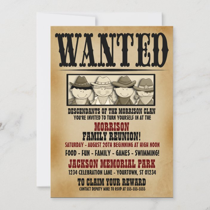 wanted poster family reunion barbeque invitation zazzle com