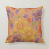 Warm Maple Spring Floral Medley Throw Pillow