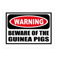 Warning BEWARE OF THE GUINEA PIGS Postcard