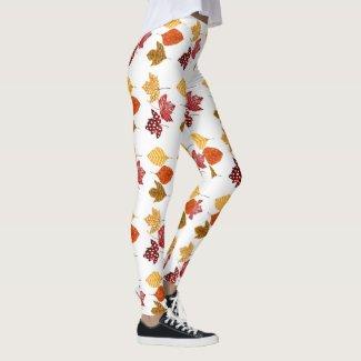 Watercolor Autumn Leaves Fun for Fall Leggings