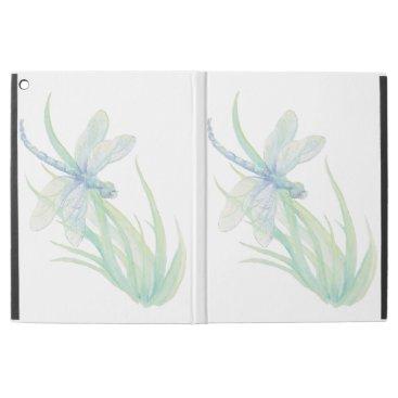 "Watercolor Blue Green Dragonfly Art iPad Pro 12.9"" Case"