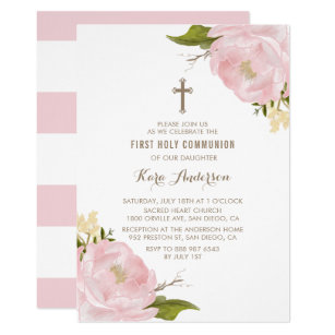 Watercolor Blush Pink Peonies First Holy Communion Invitation