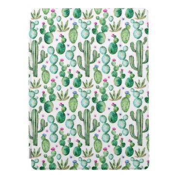 Watercolor Cactus Plants Pattern iPad Pro Cover
