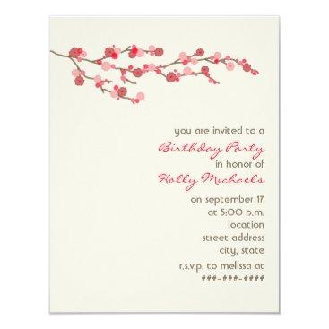 Watercolor Cherry Blossom Birthday Party Invite