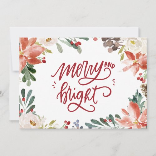 Watercolor Christmas Card with Poinsettia