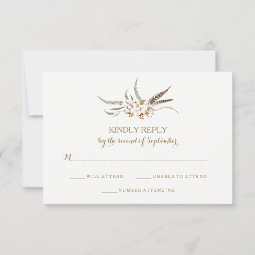 Watercolor Cotton Wreath Feather Wedding RSVP Card
