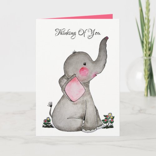 Watercolor Cute Baby Elephant With Blush & flowers Card