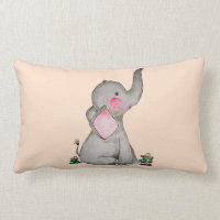 Watercolor Cute Baby Elephant With Blush & Flowers Lumbar Pillow