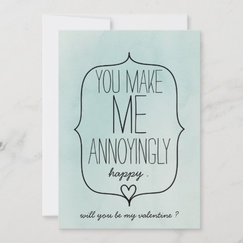 Watercolor Cute Heart Funny Valentines Day Holiday Card