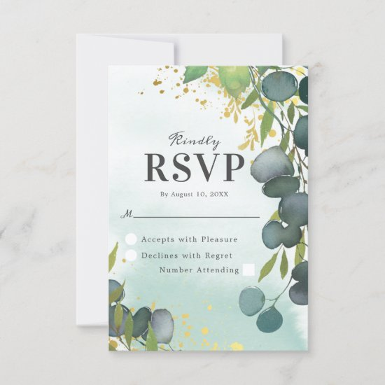 Watercolor Dusty Green Gold Wedding RSVP