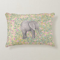 Watercolor Elephant Flowers Gold Glitter Decorative Pillow