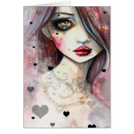 Watercolor Fantasy Art Girl and Hearts Card