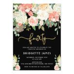 Watercolor Floral 40th Birthday Invitation