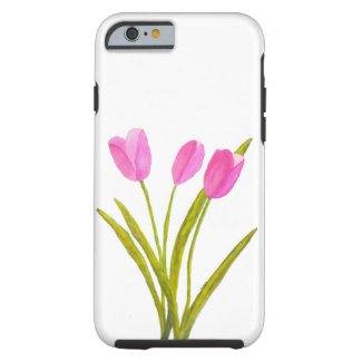 Watercolor Floral Art Pink Tulips Flowers Painting iPhone 6 Case