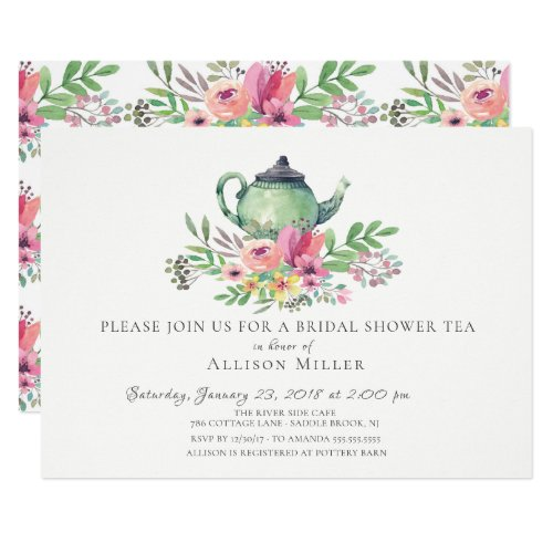 Watercolor Floral Bridal Tea Party Invitation