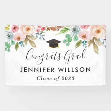 Watercolor Floral Girl Graduate Graduation Party Banner