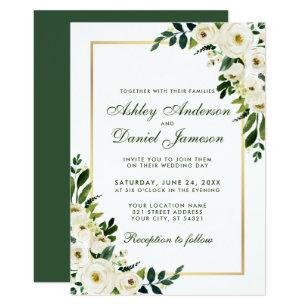 Green White And Gold Wedding Invitations Zazzle