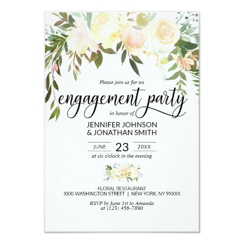 "Watercolor Floral Ivory Engagement Party 3.5""x5"" Invitation"