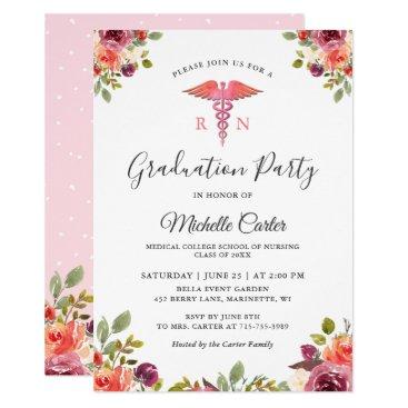 Watercolor Floral Nursing School Graduation Party Invitation