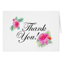 Watercolor Flower Thank You Card | Zazzle