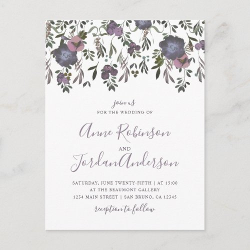 Watercolor Flowers &amp&#x3B; Damask Wedding Invitation