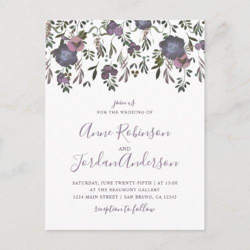 Watercolor Flowers & Damask Wedding Invitation