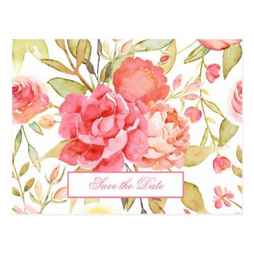 Watercolor Garden Wedding Save The Date Postcard
