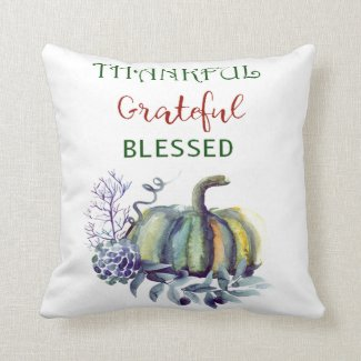 Watercolor Green and Blue Pumpkin Throw Pillow