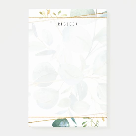 Watercolor Greenery Leaves Gold Stripes Post-it Notes